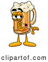 Stock Mascot Cartoon of a Cute Beer Mug Mascot Cartoon Character Whispering and Gossiping by Toons4Biz