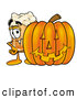 Stock Mascot Cartoon of a Cute Beer Mug Mascot Cartoon Character with a Carved Halloween Pumpkin by Toons4Biz