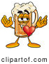 Stock Mascot Cartoon of a Cute Beer Mug Mascot Cartoon Character with His Heart Beating out of His Chest by Toons4Biz