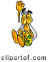 Stock Mascot Cartoon of a Cute Erlenmeyer Conical Laboratory Flask Beaker Mascot Cartoon Character Plugging His Nose While Jumping into Water by Toons4Biz