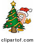 Stock Mascot Cartoon of a Festive Happy Bandaid Bandage Mascot Cartoon Character Waving and Standing by a Decorated Christmas Tree by Toons4Biz