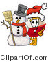 Stock Mascot Cartoon of a Festive Red and White Fishing Bobber Mascot Cartoon Character with a Snowman on Christmas by Toons4Biz