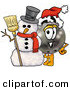 Stock Mascot Cartoon of a Festive Smiling Bowling Ball Mascot Cartoon Character with a Snowman on Christmas by Toons4Biz