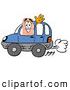 Stock Mascot Cartoon of a Friendly Bandaid Bandage Mascot Cartoon Character Driving a Blue Car and Waving by Toons4Biz