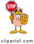 Stock Mascot Cartoon of a Friendly Bandaid Bandage Mascot Cartoon Character Holding a Stop Sign by Toons4Biz