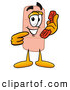 Stock Mascot Cartoon of a Friendly Bandaid Bandage Mascot Cartoon Character Holding a Telephone by Toons4Biz