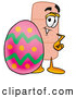 Stock Mascot Cartoon of a Friendly Bandaid Bandage Mascot Cartoon Character Standing Beside an Easter Egg by Toons4Biz