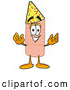 Stock Mascot Cartoon of a Friendly Bandaid Bandage Mascot Cartoon Character Wearing a Birthday Party Hat by Toons4Biz