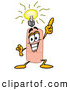 Stock Mascot Cartoon of a Friendly Bandaid Bandage Mascot Cartoon Character with a Bright Idea by Toons4Biz