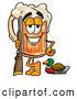 Stock Mascot Cartoon of a Friendly Beer Mug Mascot Cartoon Character Duck Hunting, Standing with a Rifle and Duck by Toons4Biz