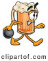 Stock Mascot Cartoon of a Friendly Beer Mug Mascot Cartoon Character Holding a Bowling Ball by Toons4Biz
