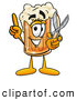 Stock Mascot Cartoon of a Friendly Beer Mug Mascot Cartoon Character Holding a Pair of Scissors by Toons4Biz