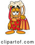 Stock Mascot Cartoon of a Friendly Beer Mug Mascot Cartoon Character in Orange and Red Snorkel Gear by Toons4Biz