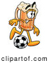 Stock Mascot Cartoon of a Friendly Beer Mug Mascot Cartoon Character Kicking a Soccer Ball by Toons4Biz