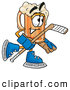 Stock Mascot Cartoon of a Friendly Beer Mug Mascot Cartoon Character Playing Ice Hockey by Toons4Biz