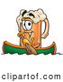 Stock Mascot Cartoon of a Friendly Beer Mug Mascot Cartoon Character Rowing a Boat by Toons4Biz