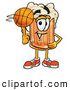 Stock Mascot Cartoon of a Friendly Beer Mug Mascot Cartoon Character Spinning a Basketball on His Finger by Toons4Biz