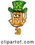 Stock Mascot Cartoon of a Friendly Beer Mug Mascot Cartoon Character Wearing a Saint Patricks Day Hat with a Clover on It by Toons4Biz