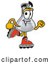 Stock Mascot Cartoon of a Friendly Erlenmeyer Conical Laboratory Flask Beaker Mascot Cartoon Character Roller Blading on Inline Skates by Toons4Biz