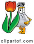 Stock Mascot Cartoon of a Friendly Erlenmeyer Conical Laboratory Flask Beaker Mascot Cartoon Character with a Red Tulip Flower in the Spring by Toons4Biz