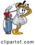 Stock Mascot Cartoon of a Friendly or Outgoing Erlenmeyer Conical Laboratory Flask Beaker Mascot Cartoon Character Swinging His Golf Club While Golfing by Toons4Biz
