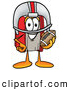 Stock Mascot Cartoon of a Friendly Red Book Mascot Cartoon Character in a Helmet, Holding a Football by Toons4Biz