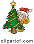 Stock Mascot Cartoon of a Frosty Beer Mug Mascot Cartoon Character Waving and Standing by a Decorated Christmas Tree by Toons4Biz