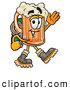 Stock Mascot Cartoon of a Frothy Beer Mug Mascot Cartoon Character Hiking and Carrying a Backpack by Toons4Biz