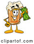 Stock Mascot Cartoon of a Frothy Beer Mug Mascot Cartoon Character Holding a Dollar Bill by Toons4Biz