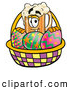Stock Mascot Cartoon of a Frothy Beer Mug Mascot Cartoon Character in an Easter Basket Full of Decorated Easter Eggs by Toons4Biz