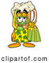 Stock Mascot Cartoon of a Frothy Beer Mug Mascot Cartoon Character in Green and Yellow Snorkel Gear by Toons4Biz