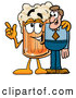 Stock Mascot Cartoon of a Frothy Beer Mug Mascot Cartoon Character Talking to a Business Man by Toons4Biz