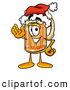 Stock Mascot Cartoon of a Frothy Beer Mug Mascot Cartoon Character Wearing a Santa Hat and Waving by Toons4Biz