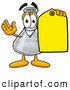 Stock Mascot Cartoon of a Glass Erlenmeyer Conical Laboratory Flask Beaker Mascot Cartoon Character Holding a Yellow Sales Price Tag by Toons4Biz