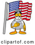 Stock Mascot Cartoon of a Glass Erlenmeyer Conical Laboratory Flask Beaker Mascot Cartoon Character Pledging Allegiance to an American Flag by Toons4Biz
