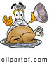 Stock Mascot Cartoon of a Glass Erlenmeyer Conical Laboratory Flask Beaker Mascot Cartoon Character Serving a Thanksgiving Turkey on a Platter by Toons4Biz