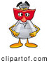 Stock Mascot Cartoon of a Glass Erlenmeyer Conical Laboratory Flask Beaker Mascot Cartoon Character Wearing a Red Mask over His Face by Toons4Biz