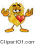 Stock Mascot Cartoon of a Gold Police Badge Mascot Cartoon Character with His Heart Beating out of His Chest by Toons4Biz