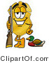 Stock Mascot Cartoon of a Golden Police Badge Mascot Cartoon Character Duck Hunting, Standing with a Rifle and Duck by Toons4Biz