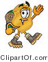 Stock Mascot Cartoon of a Golden Police Badge Mascot Cartoon Character Hiking and Carrying a Backpack by Toons4Biz