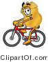 Stock Mascot Cartoon of a Golden Police Badge Mascot Cartoon Character Riding a Bicycle by Toons4Biz