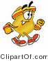 Stock Mascot Cartoon of a Golden Police Badge Mascot Cartoon Character Speed Walking or Jogging by Toons4Biz