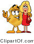 Stock Mascot Cartoon of a Golden Police Badge Mascot Cartoon Character Talking to a Pretty Blond Woman by Toons4Biz