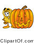 Stock Mascot Cartoon of a Golden Police Badge Mascot Cartoon Character with a Carved Halloween Pumpkin by Toons4Biz