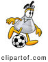 Stock Mascot Cartoon of a Grinning Erlenmeyer Conical Laboratory Flask Beaker Mascot Cartoon Character Kicking a Soccer Ball by Toons4Biz