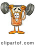 Stock Mascot Cartoon of a Happy Beer Mug Mascot Cartoon Character Holding a Heavy Barbell Above His Head by Toons4Biz