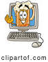 Stock Mascot Cartoon of a Happy Beer Mug Mascot Cartoon Character Waving from Inside a Computer Screen by Toons4Biz