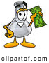 Stock Mascot Cartoon of a Happy Erlenmeyer Conical Laboratory Flask Beaker Mascot Cartoon Character Holding a Dollar Bill by Toons4Biz