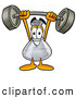 Stock Mascot Cartoon of a Happy Erlenmeyer Conical Laboratory Flask Beaker Mascot Cartoon Character Holding a Heavy Barbell Above His Head by Toons4Biz