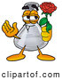 Stock Mascot Cartoon of a Happy Erlenmeyer Conical Laboratory Flask Beaker Mascot Cartoon Character Holding a Red Rose on Valentines Day by Toons4Biz